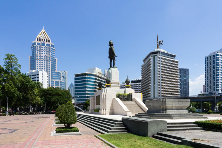Statue of King Rama VI in Lumphini park in Bangkok, Thailand