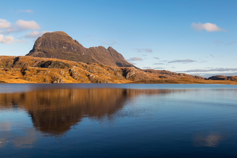 Suilven a wonderfully shaped mountain in Sutherland, Northwest Highlands of Scotland.