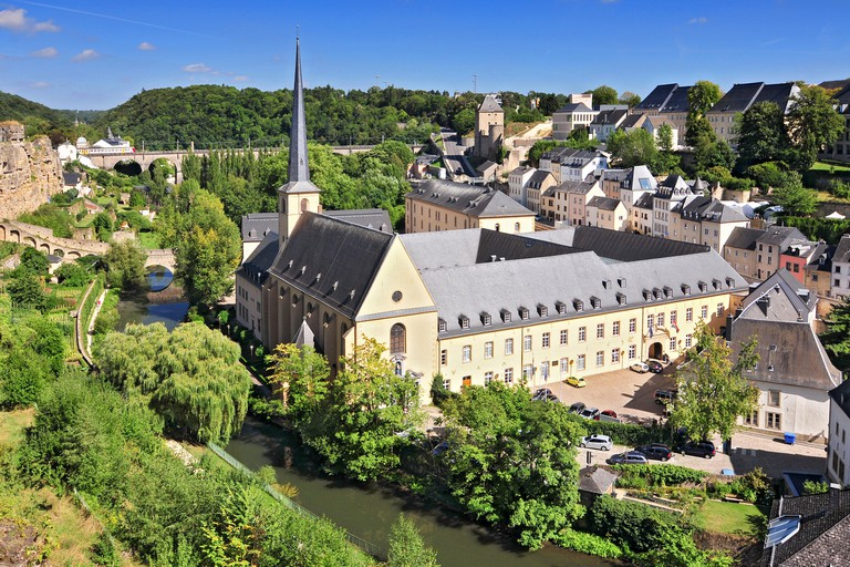 View On Abbaye De Neumunster And St Jean Du Grund Church In Luxembourg