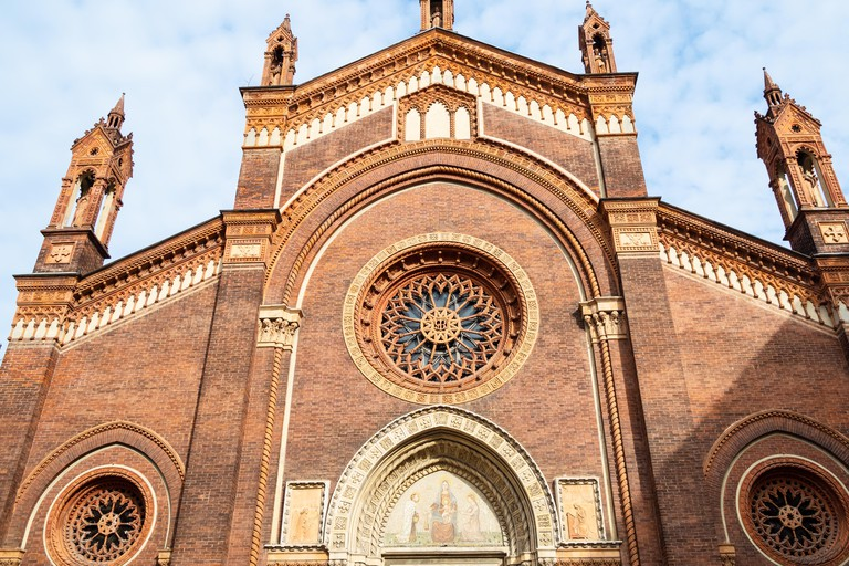 Travel to Italy - facade of church Chiesa di Santa Maria del Carmine in Brera district of Milan city, Lombardy