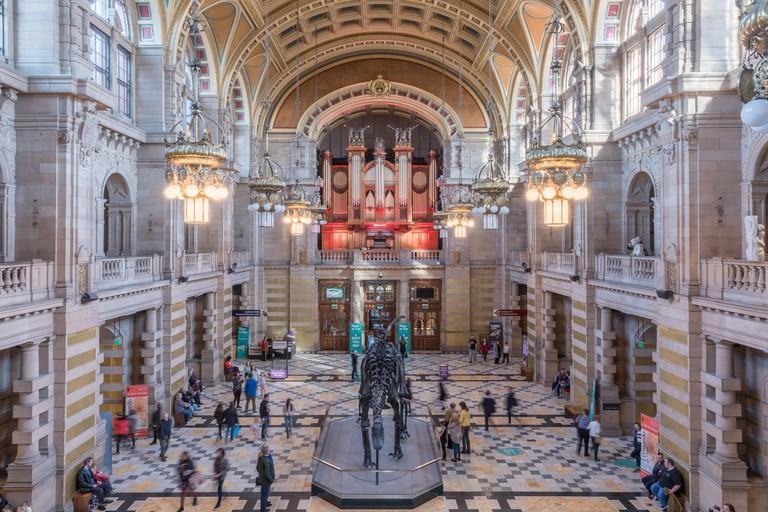 Interior of Kelvingrove Art Gallery and Museum in Glasgow, Scotland.