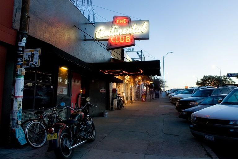 Outside the Continental Club in Austin TX. Austin historical landmark, The Continental Club, is the premier roots rock, traditional country and blues, rockabilly and garage rock club