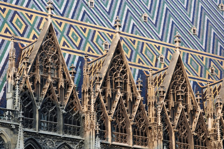 Mosaic tiles on the roof of St. Stephen's Cathedral