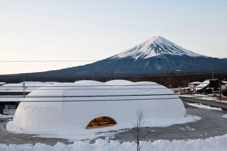 Hoto Fudo, restaurant, Aerial view towards the south, with Mount Fuji in the background