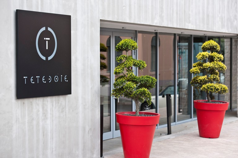 France, Rhone, Lyon, historical site listed as World Heritage by UNESCO, the Tetedoie gourmet restaurant on the upper slopes of