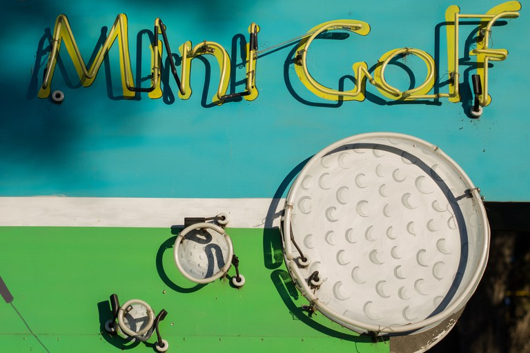 Mini Golf Sign Check out an Austin favourite, Peter Pan Mini Golf, for an evening of light-hearted fun