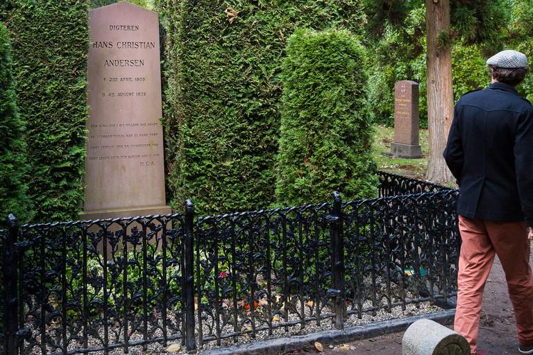 Hans Christian Andersen grave at Assistens Cemetery, Copenhagen, Denmark.