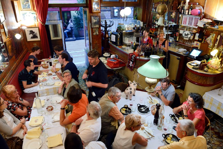 France, Rhone, Lyon, Restaurant bouchon lyonnais Le Garet, the hero of the Resistance Jean Moulin had regularly lunch here