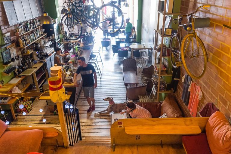 Interior of Recyclo Bike-Cafe in Malaga, Spain.