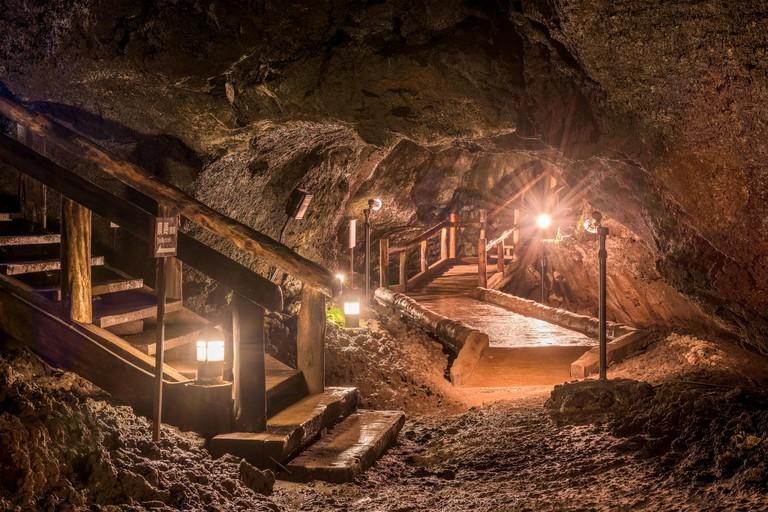 Lake Saiko Bat Caves interior in Fujikawaguchiko Town, Japan.