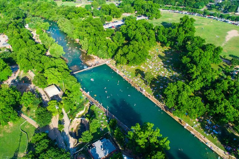 Austin Texas Barton Springs Barton Springs Pool a national landmark of refreshing summer relaxation