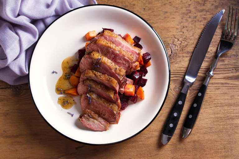 Duck breast with lavender, beetroot, sweet potato and maple syrup