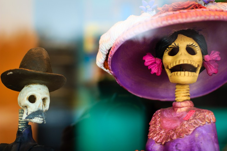 'Day of the Dead' Mexican Folk Art Mexican popular art handcrafted figurines of skeletons, which are popular in Día de Muertos