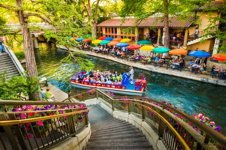 The riverwalk, San Antonio park walkway scenic canal tour boat
