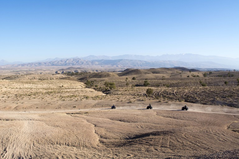 Morocco, Quadbikes in desert of Agafay