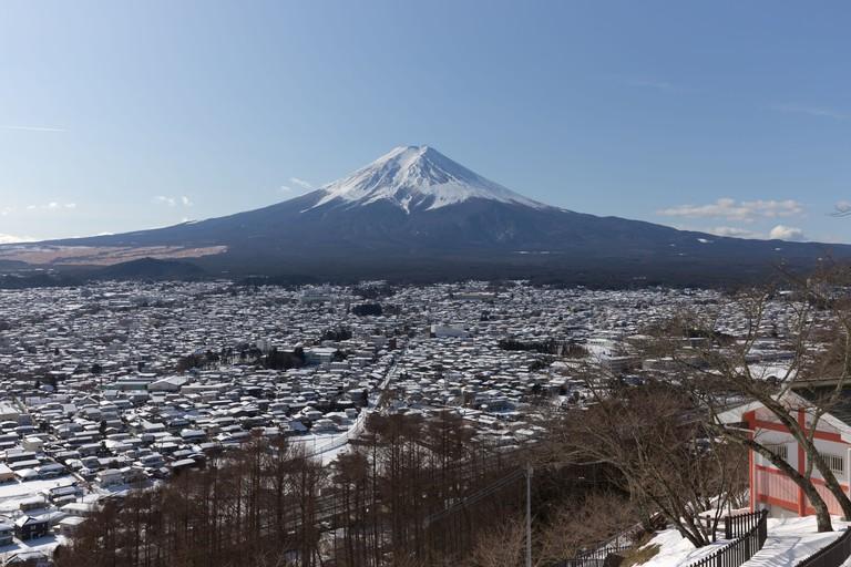 View of Mt.Fuji from Chureito Pagoda, Japan