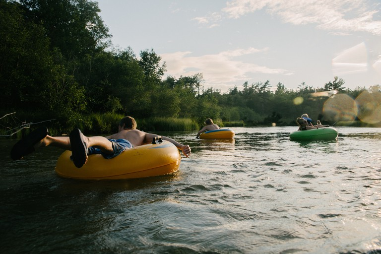 Tubing in river
