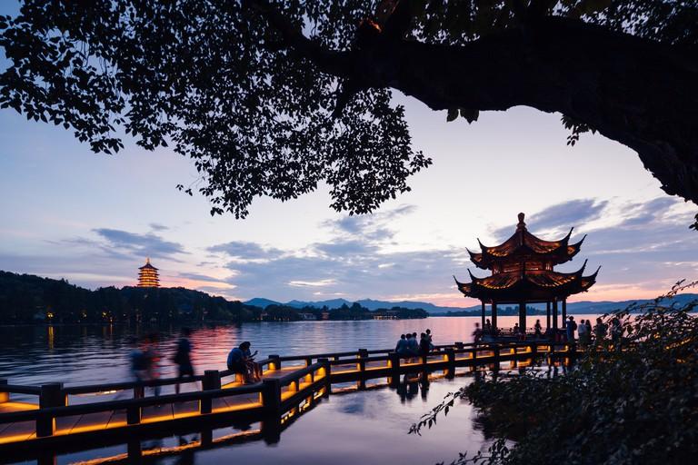 Dramatic sunset at West Lake, Hangzhou