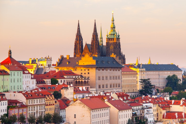 Prague Castle with Saint Vitus Cathedral. Evening view from Strahov Monastery gardens, Hradcany, Prague, Czech Republic