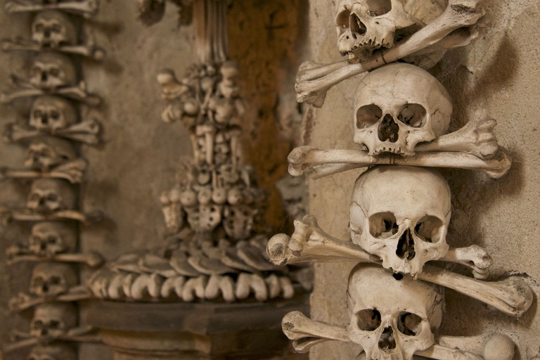 Bones and skulls on wall, Kutna Hora, Central Bohemian Region, Czech Republic