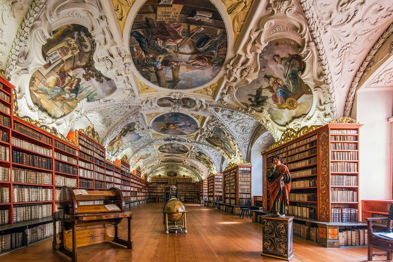The Theological Hall with library and stucco decoration and paintings dated from 1720s, Strahov Monastery, Prague, Bohemia, Czech Republic