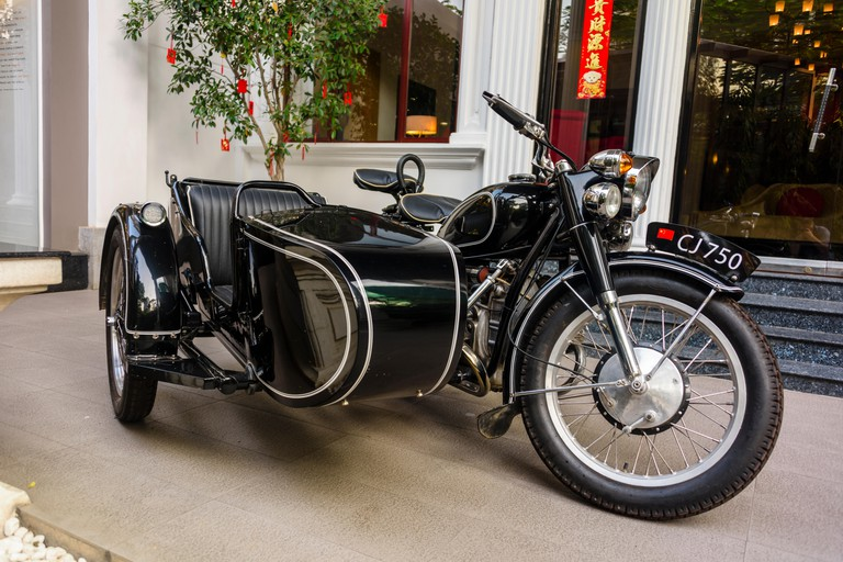 Black 1969 Changjiang 750 M1S motorcycle and sidecar, made in China