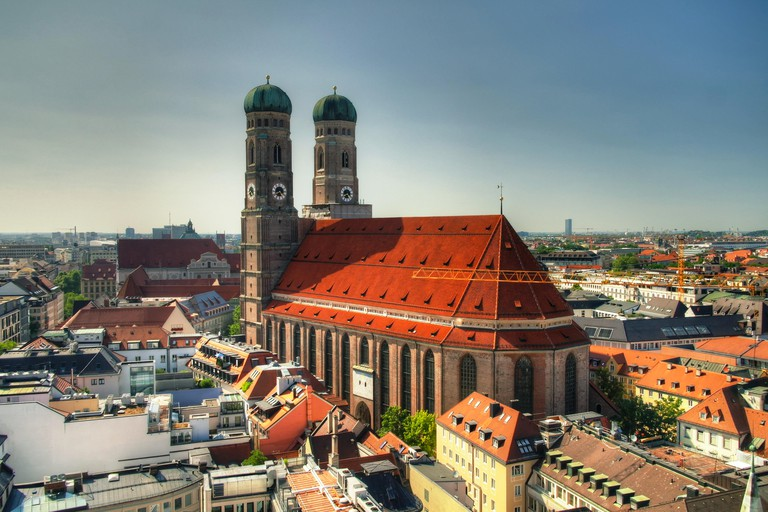 Aerial view to Frauenkirche church Munich, Germany