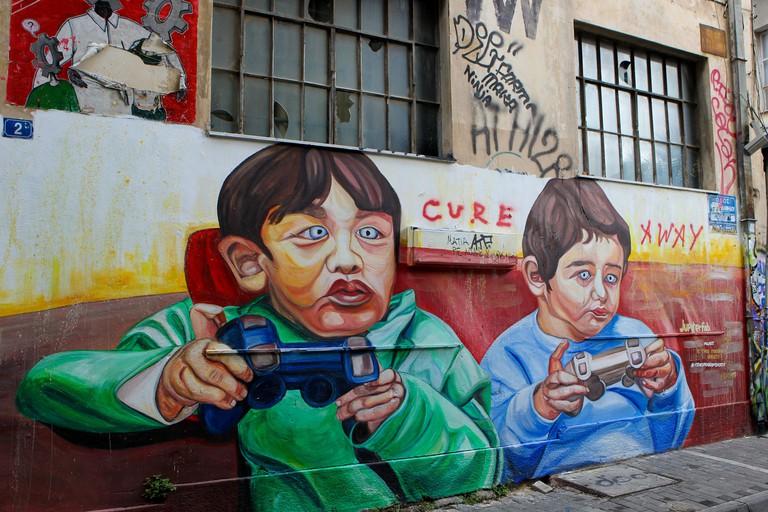 Greece, Athens, graffiti in Psiri district