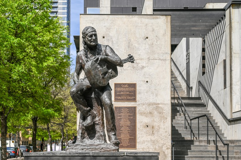 Iconic sculpture of music legend Willie Nelson at the ACL Moody Theater