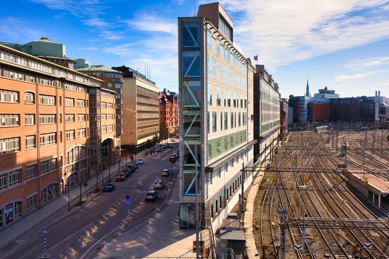 Flat Iron building which stands between Torsgatan and Stockholm's main railway station, Norrmalm, Stockholm, Sweden