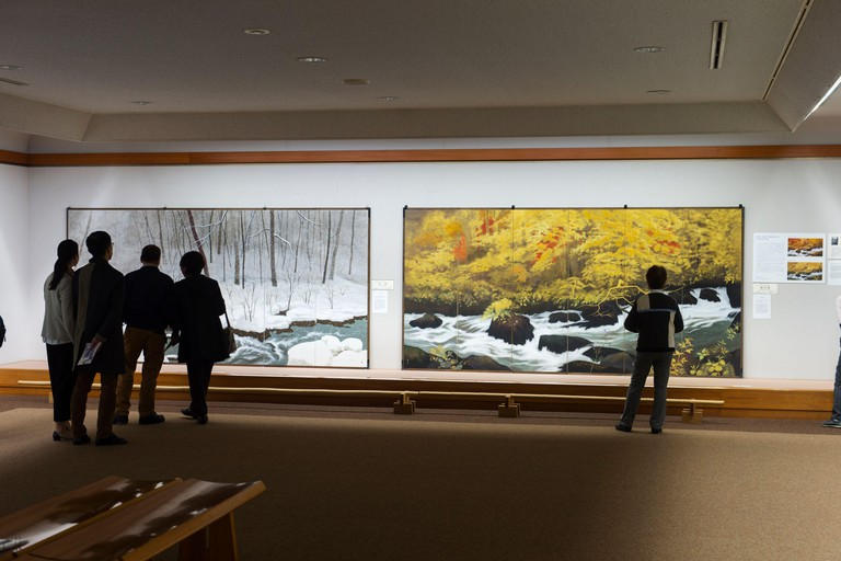People at the Narukawa Art Museum in the Hakone area of Kanagawa Prefecture in Honshu, Japan.