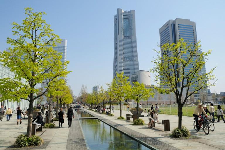 Spring in Minato Mirai with the Landmark Tower, Yokohama.