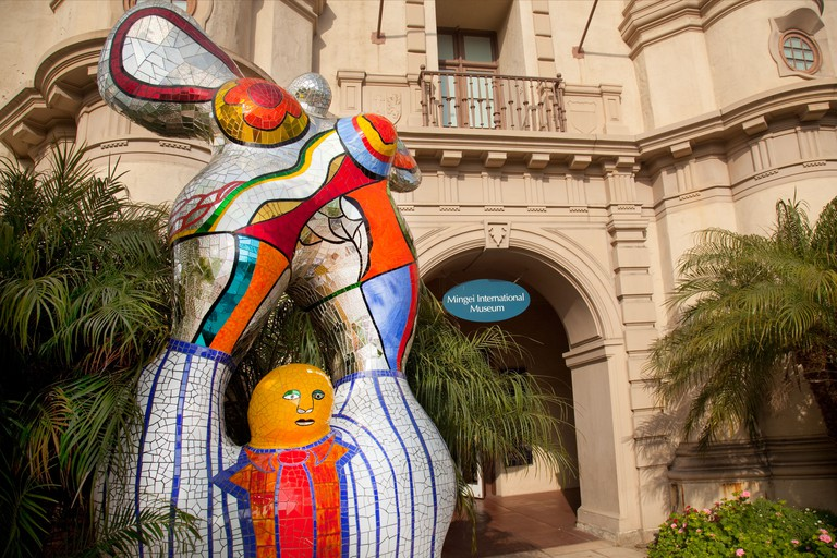 Niki de Saint Phalle sculpture at the entrance of the Mingei International Museum in Balboa Park San Diego CA