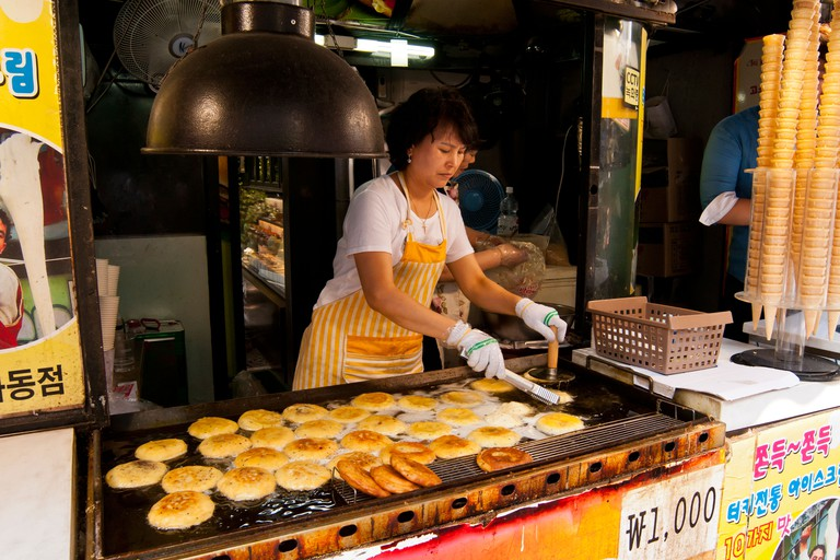 Food stall in Insadong, Seoul, Korea.