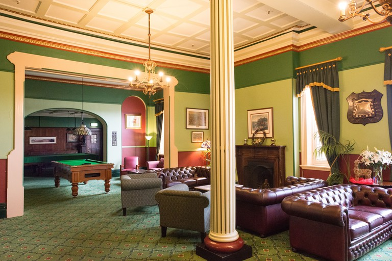 A pool room lounge inside the historic Carrington Hotel in Katoomba
