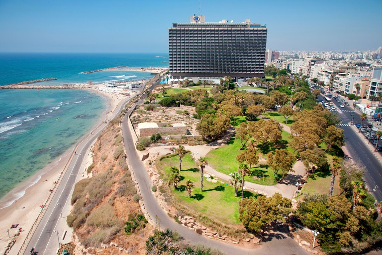 Hilton Hotel and Independence Park, Hayarkon Street, Tel Aviv, Israel, Middle East