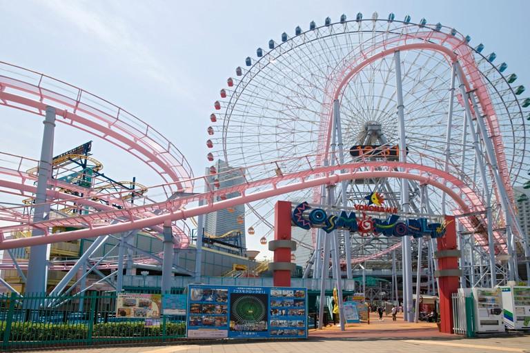 Clock Ferris wheel at Cosmo World amusement park on the waterfront of Yokohama, Japan.