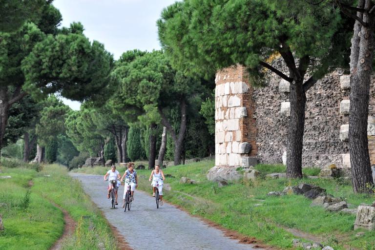 Via Appia Antica, Appian Way, Roman road from Rome to Brindisi, near Rome, Italy