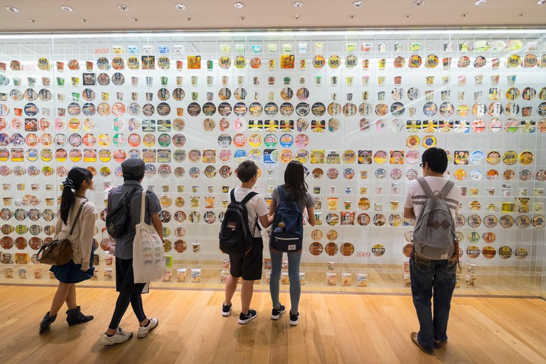 Interior display of historic cup noodle brands and packaging at Cup Noodle Museum in Minato Mirai district of Yokohama