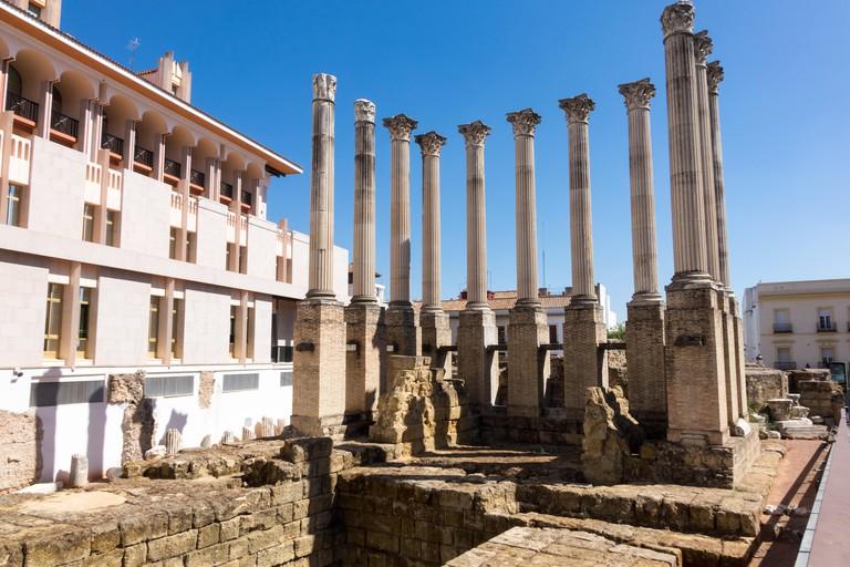 Roman Temple in old city of Cordoba, Spain.