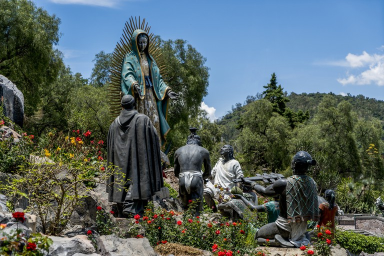 The Virgin of Guadalupe on Tepeyac Hill Mexico City. Mexico