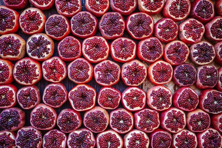 Pomegranates at Market in Tel Aviv, Israel