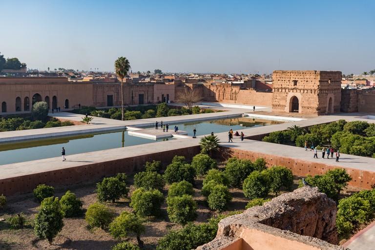 Elevated view of the El Badi (Badii) palace, Marrakesh, Morocco
