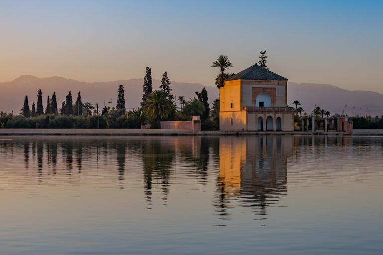 Menara Gardens pavillion, at sunrise, Marrakech, Morocco