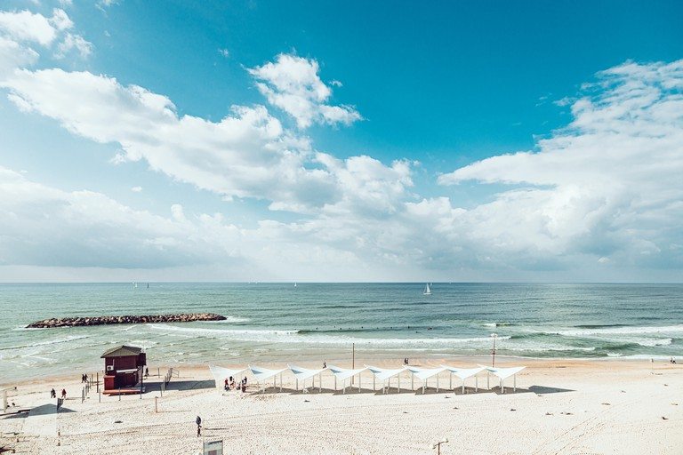 Panoramic view of Mediterranean beach