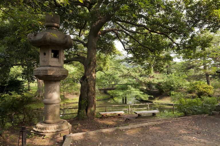 Lantern in japaneese garden Sankei-en, Yokohama, Japan