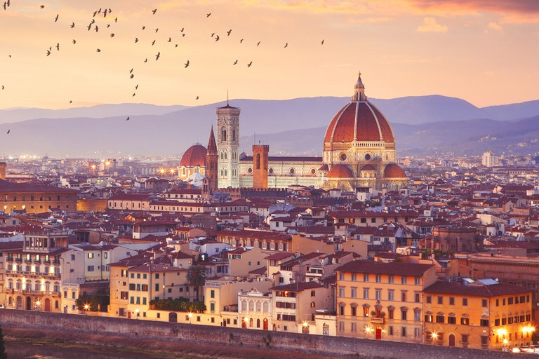 Florence in Italy by sunset