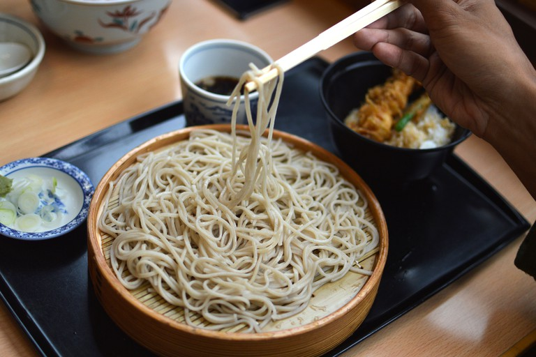Having Cold Soba in Asakusa