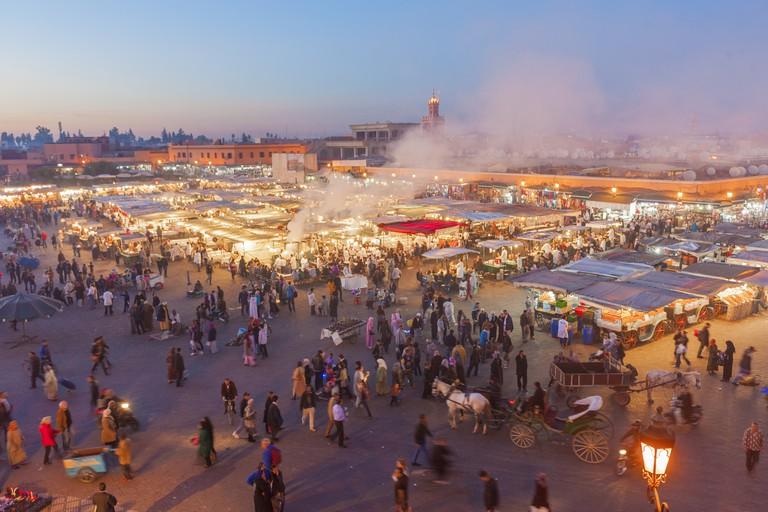 Market stalls in Jemaa el-Fnaa market square. Marrakech, Morocco.