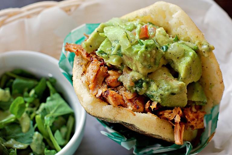 Pork arepas with guacamole